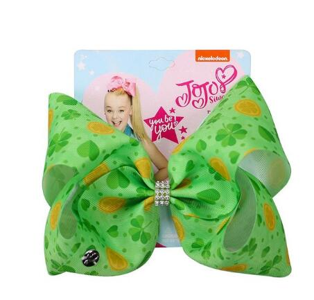Image of St. Patrick's Day Hair Bow Hairpins for Saint Patrick Clover Printed Grosgrain 8INCH Girls Hairband Barrettes Accessories 8pcs