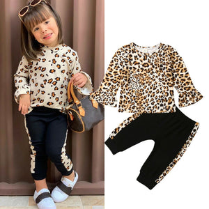 Emmababy Kids Baby Girls Winter Clothes Leopard Print Tops+Long Pants Outfits