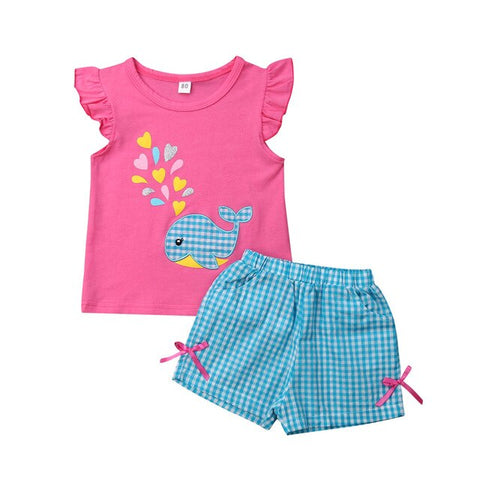 Image of 2PCS Baby Girls Clothes Whale T-shirt+Shorts Boutique Outfits Toddlers 0-5Y Cute Baby Girl Clothes Whale Top Plaid Shorts Set
