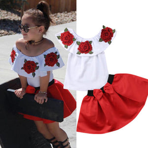 Pudcoco Clothes 2PCS Boutique Flower Kids Girl  Short Sleeve T-shirt Top +Pleated Skirt  Clothes Outfit One Set Summer