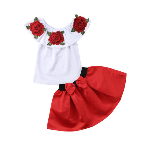 Image of Pudcoco Clothes 2PCS Boutique Flower Kids Girl  Short Sleeve T-shirt Top +Pleated Skirt  Clothes Outfit One Set Summer