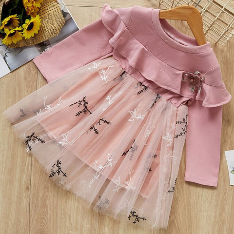 Image of Melario Girls Dress New Autumn Kids Clothes Long Sleeve O-neck Striped Bunny Rabbit Appliques Design for Girls Princess Dresses