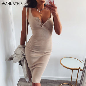 Knee-Length Dress Knitted Elastic Sleeveless Bodycon