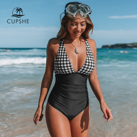 Image of CUPSHE Black And White Gingham Ruched One-Piece Swimsuit Women Sexy Back Cross Monokini 2020 Girl Beach Bathing Suits