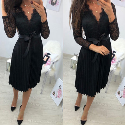 Image of Sexy V-Neck Lace Dress- Elegant Fresh Black Ribbon