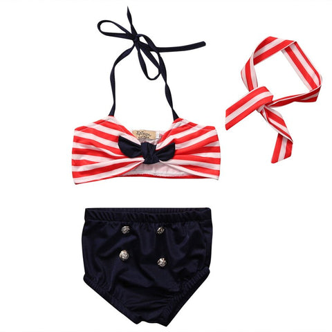 Image of 0-4 yr Girls Boutique Bikini Bathing Suit Navy Red & White