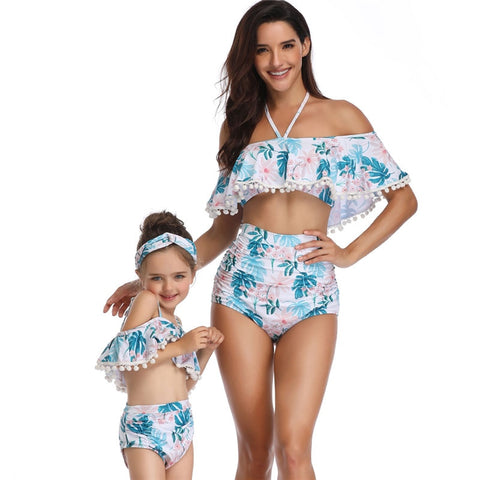 Image of Mommy and Me Ruffle Top Tropical Green and Pink Print