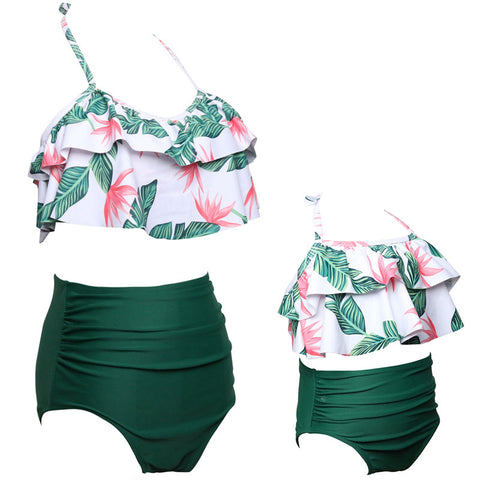 Mommy and Me Ruffle Top Tropical Green and Pink Print