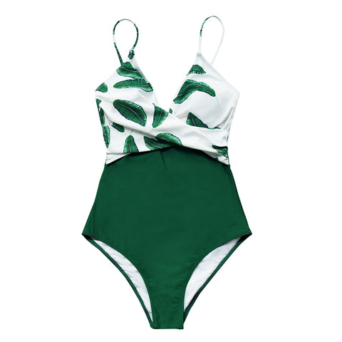 Image of CUPSHE Banana Leaf Twist-Front One-Piece Swimsuit Women Sexy V-neck Padded Cups Monokini 2020 Girls Beach Bathing Suit Swimwear