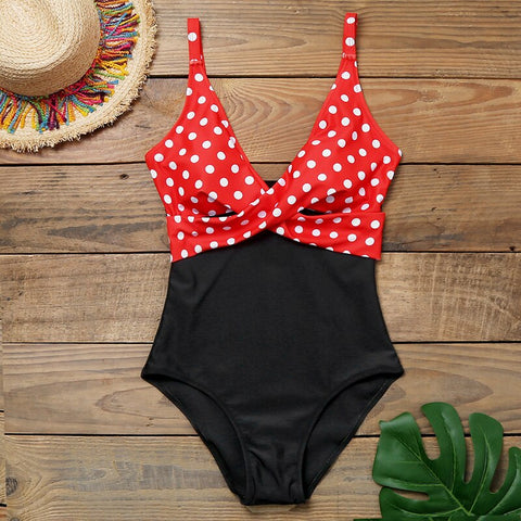 Image of 2020 One Piece Swimsuit Sexy Stripe Cross Bathing Suit Backless Splice High Waist Swimming for Beach Wear Plus Size Swimwear