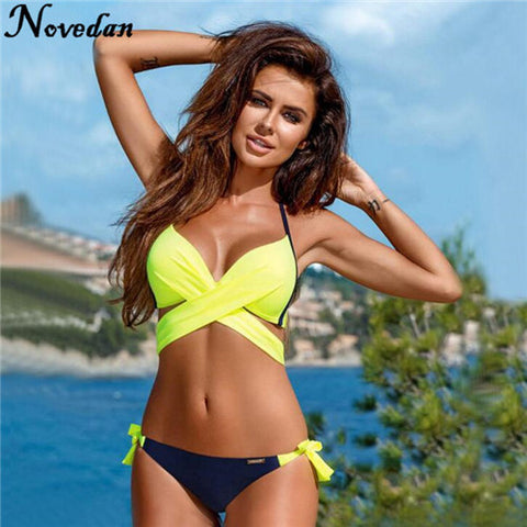 New Push Up Yellow Criss Cross Bikini Set Bathing Suit