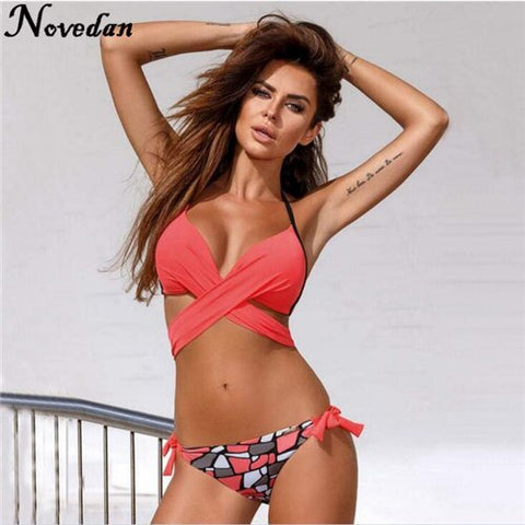 Image of New Push Up Yellow Criss Cross Bikini Set Bathing Suit