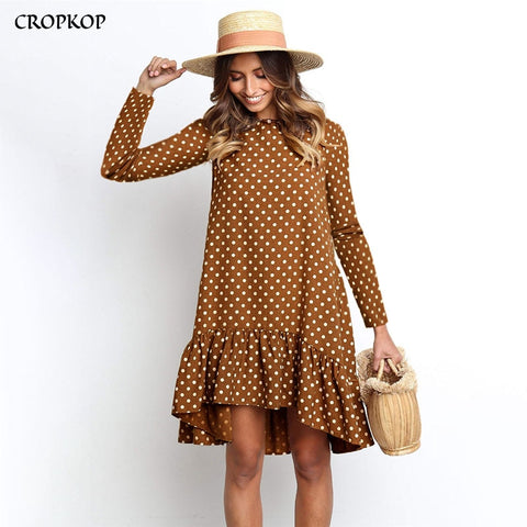 Fresh Fashion Polka Dot Chiffon Dress Long Sleeve Retro Look