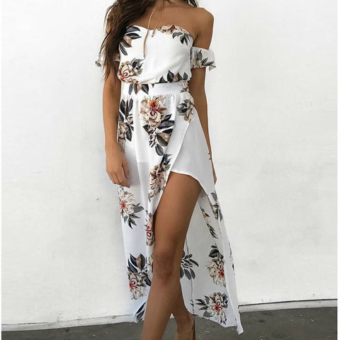 boutique Bohemia elegant flower print dress Beach Style