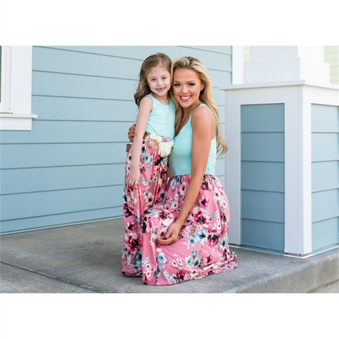 mom and daughter floral boutique dress