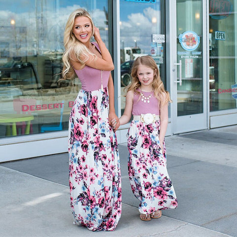 Image of mom and daughter floral boutique dress