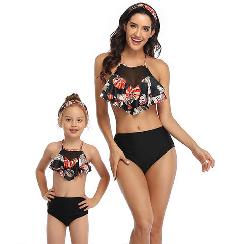 Image of Swimsuit Mommy and Me Bikini Beach Tropical Print