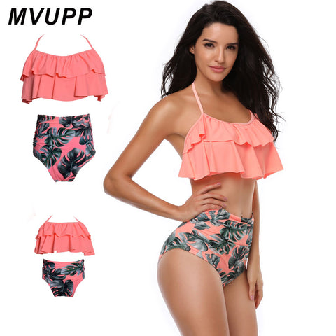Image of Mom an Me Ruffle Top Pink Tropical Bikini 2 Piece
