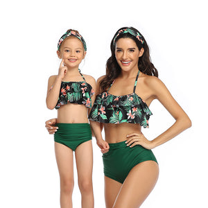 Mom an Me Ruffle Top Pink Tropical Bikini 2 Piece