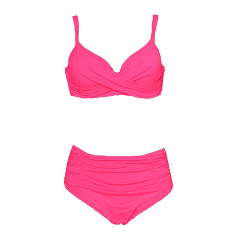 Women Swimwear Solid Fold High Waisted Bikinis Set