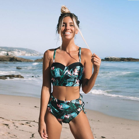 Women Floral Beachwear Two Piece Swimsuit