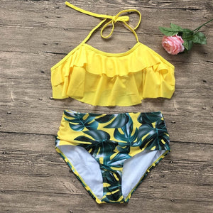 Pink Palm Leaf Bikini Set