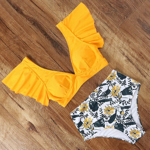 Women V Neck High Waist Bikini