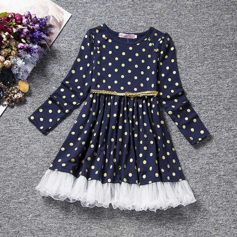 Image of Winter Baby Dress For Girl Long Sleeve Princess Girls Dresses Polka Dot Little Baby Birthday Party Dress Casual Kids Clothes