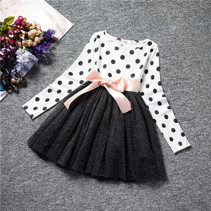 Winter Baby Dress For Girl Long Sleeve Princess Girls Dresses Polka Dot Little Baby Birthday Party Dress Casual Kids Clothes