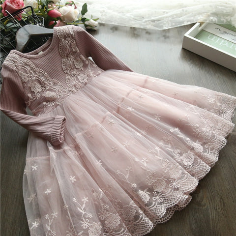Image of LILIGIRL Girl Princess Dress Girl Clothes Kids Lace Spring Autumn Long Sleeves Dresses For Party And Wedding Party Clothes