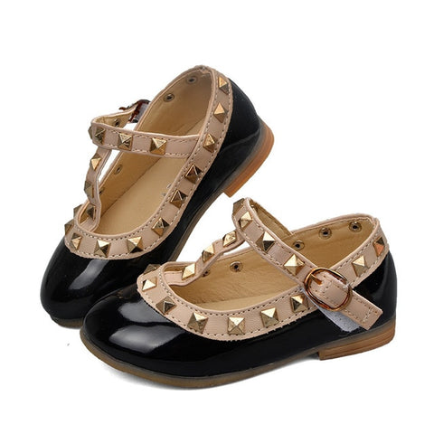 Image of ULKNN Toddler Baby Girls Shoes For Kids Leather Shoes Flats Rivet T-Strap Roman Gladiator Summer Children Shoe Princess For Girl