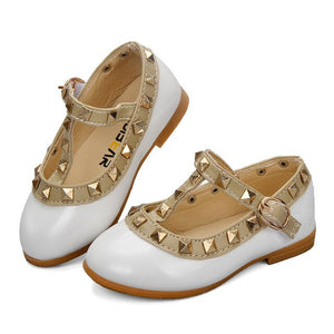 ULKNN Toddler Baby Girls Shoes For Kids Leather Shoes Flats Rivet T-Strap Roman Gladiator Summer Children Shoe Princess For Girl