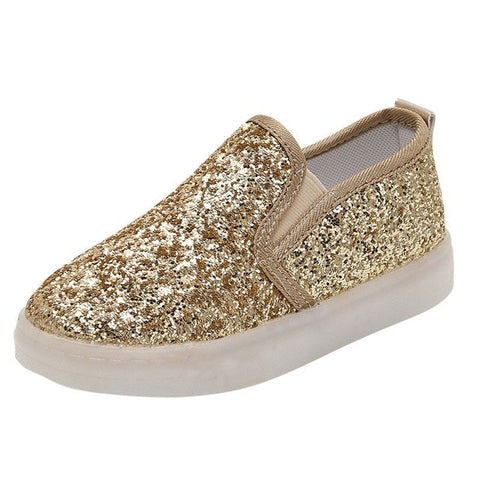 Image of WEIXINBUY Baby Children Shoes Kids Led Flash Sneakers Spring Autumn Fashion Sequin Sneakers Girls Princess Lightning Shoes 21-30
