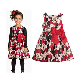 New Cute Girl Red Dress Cartoon Minnie Baby Girl Dress Party Wedding Costumes Sleeveless Girls Dresses Children Clothing