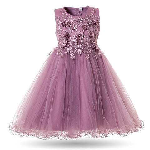 Image of Mottelee Flower Girls Dress Wedding Party Dresses for Kids Pearls Formal Ball Gown 2018 Evening Baby Outfits Tulle Girl Frocks