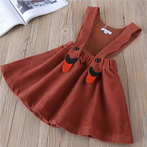 Hurave solid Corduroy New baby Girl clothes Children Summer Clothing sleeveless Kids Clothes Casual suspenders dress