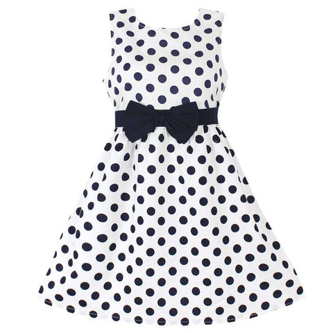 New Girls Dress Polka Dot Bow 100% Cotton Party Birthday Kids Clothing Size 2-12
