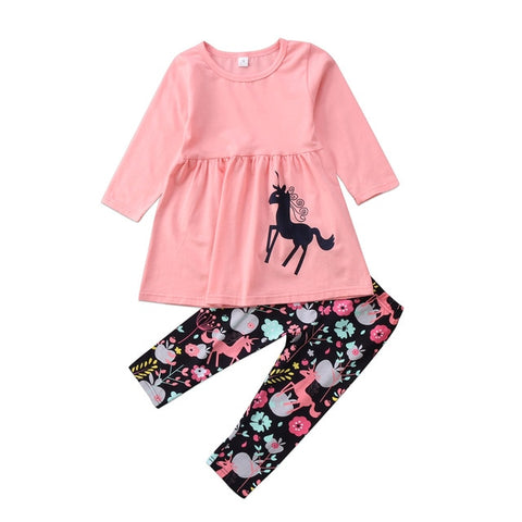 Image of new cute  Toddler  kids Girl  set clothes  Unicorn long sleeve Tops+  floral Pants Outfits  2pcs set Clothes Set