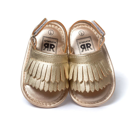 Image of Summer Baby First Walkers Soft Bottom Fringe Candy Color Shoes Girls Baby Toddler Slippers Boys Prewalkers QF