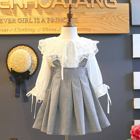 Image of Melario Girls Dress Autumn New children Dresses Girl Clothes Lace plaid Long sleeve elegant Kids Princess dress 3-7 years old