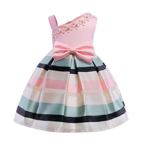 Image of Melario Girl Dress New Asymmetrical shoulder Girls Dress Pearl flower Bow Princess Dress Kids Clothes stripe Party Dress 3-8T