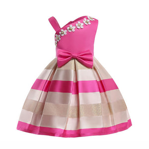 Melario Girl Dress New Asymmetrical shoulder Girls Dress Pearl flower Bow Princess Dress Kids Clothes stripe Party Dress 3-8T