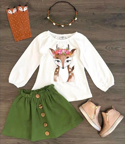 Image of Emmababy 2PCS Toddler Kids Baby Girl clothes Xmas Deer Tops +Skirts Autumn Outfit Clothes set