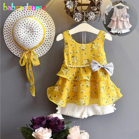 Image of 3PCS/Summer Wear Sets For Kids Clothes Girls Boutique Outfits Cute Flowers Baby T-shirt Chiffon Sleeveless Top Short+Hats BC1683