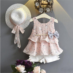3PCS/Summer Wear Sets For Kids Clothes Girls Boutique Outfits Cute Flowers Baby T-shirt Chiffon Sleeveless Top Short+Hats BC1683