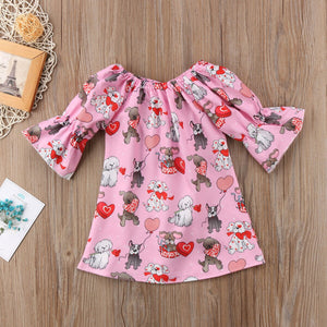 Valentine Day Kids Toddler Baby Girl Clothes Anna Dress Cotton 3/4 Sleeve Princess Casual Party Tutu Dress
