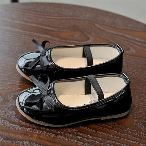 New Spring/Autumn Children Black Leather Shoes Girls Princess Pink Red Dance Shoes Flats Party Baby Toddler Shoes Kids Shoes 02B