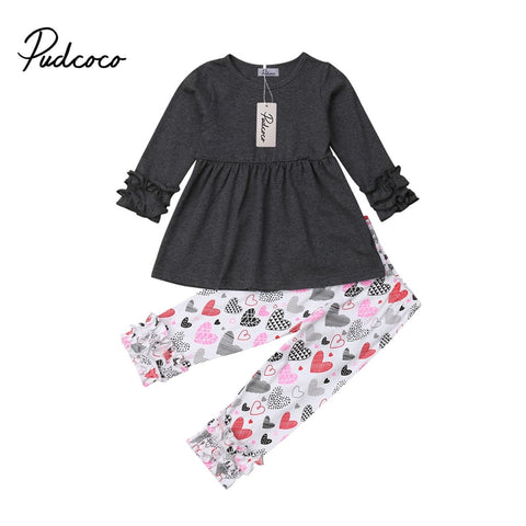 Image of 2PCs Newborn Baby Girl My 1st Valentine Day Costume Autumn Clothes Set Kids Toddler T-Shirt Blouse Pants Outfits Set Clothing