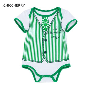 Green St Patricks Day Outfit Short Sleeve Gentleman Baby Boy Bodysuits Jumpsuit Bebe Body Summer Kids Clothes Infant Clothing