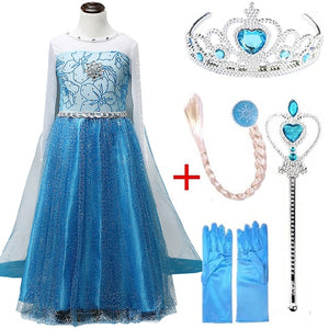 Girls elsa dress new snow queen costumes for kids cosplay dresses princess disfraz carnaval vestido de festa infantil congelados